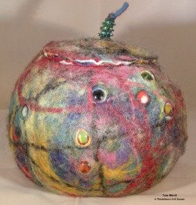 Felted vessel with marbles