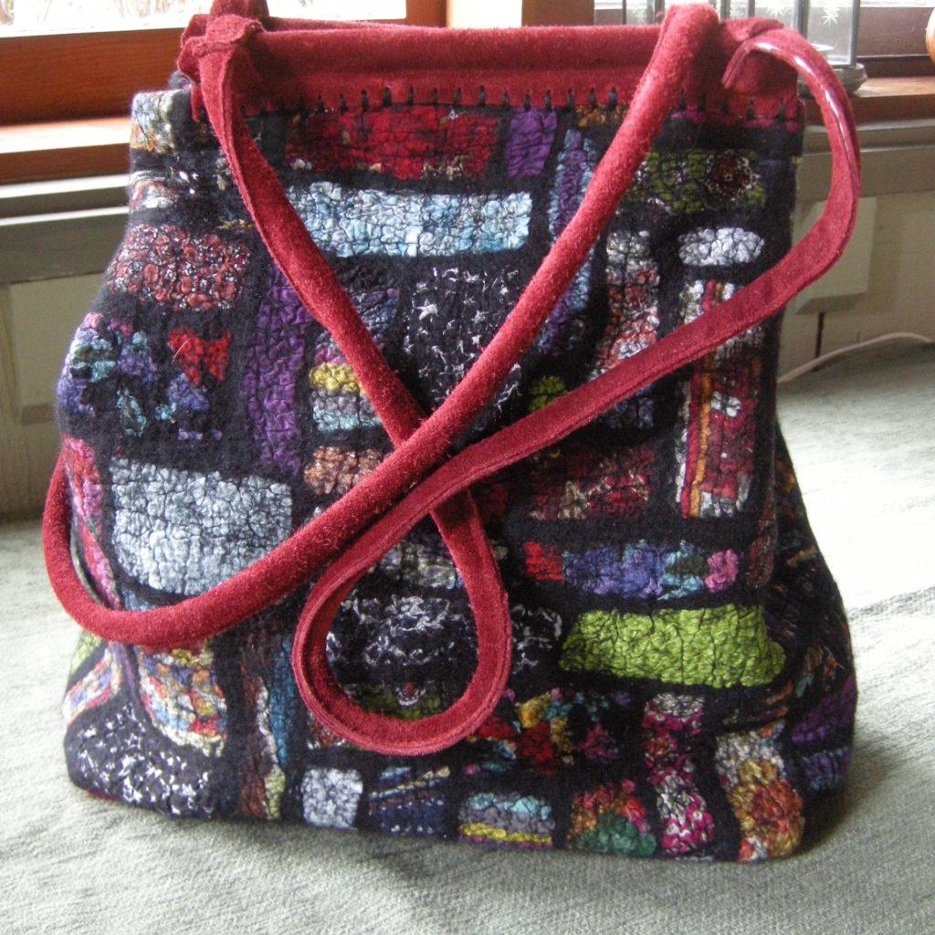 nuno felt, handbag, satchel, patchwork felt